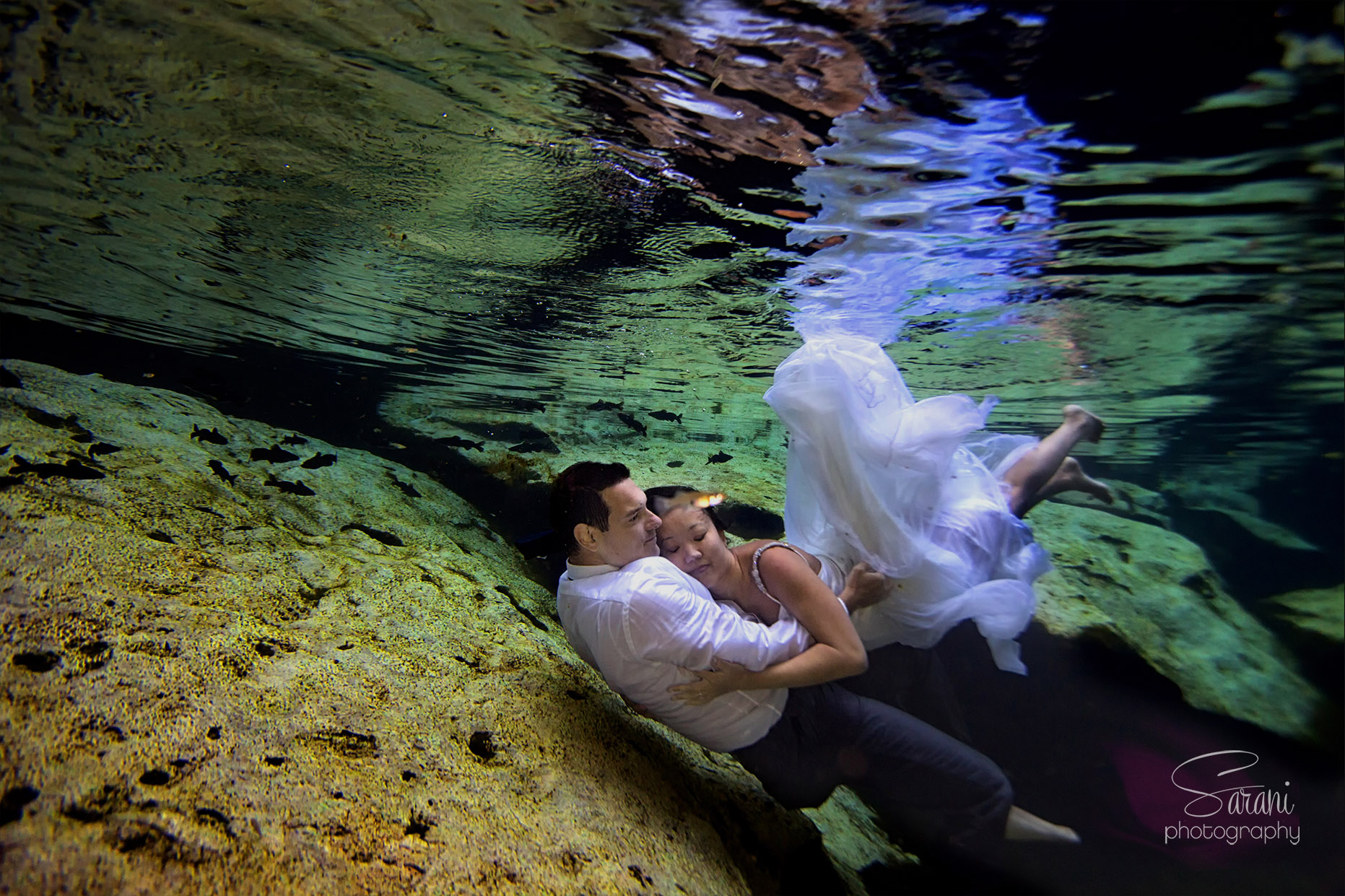 Underwater Trash the Dress at Cancun Cenote